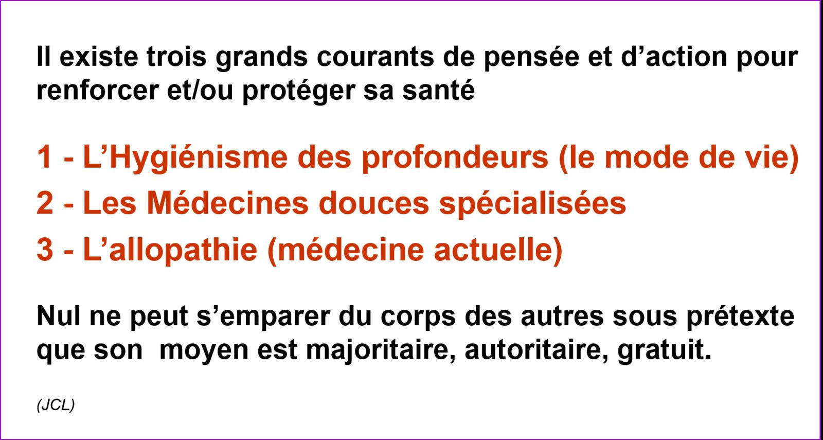 cours de Méthodes Naturelles de santé (naturopathie)