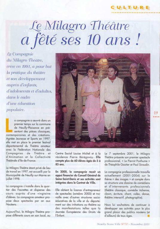 Le Pierrot posthume de T. Gauthier à la salle Marcel Pagnol de Neuilly-sur-Marne (2000-2001)