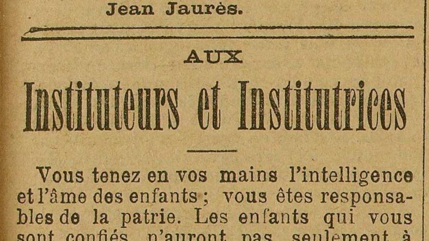 Jean Jaurès : Lettre aux instituteurs