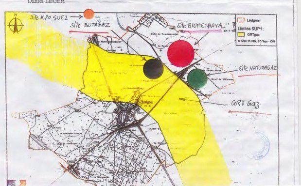 Des méthaniseurs bien proches dans le pays de Valois (en rouge et vert)t)