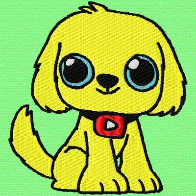 un petit chien jaune