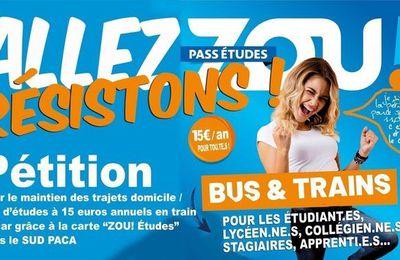 """Transports régionaux : M. Muselier a multiplié par 7 le prix de la """"carte Zou"""" des jeunes..."""
