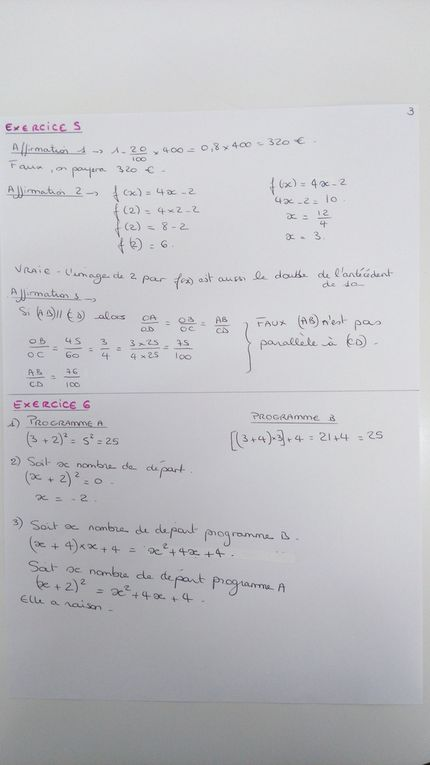 Correction sujet brevet maths 2015 (centre étranger)