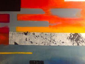 """Technique mixte sur toile, 100x81 : """"Carré noir, le Far"""" -  """"Carré blanc, vu du ciel"""" - """"Carré orange, ou Séquences"""" - """"Rouge"""""""
