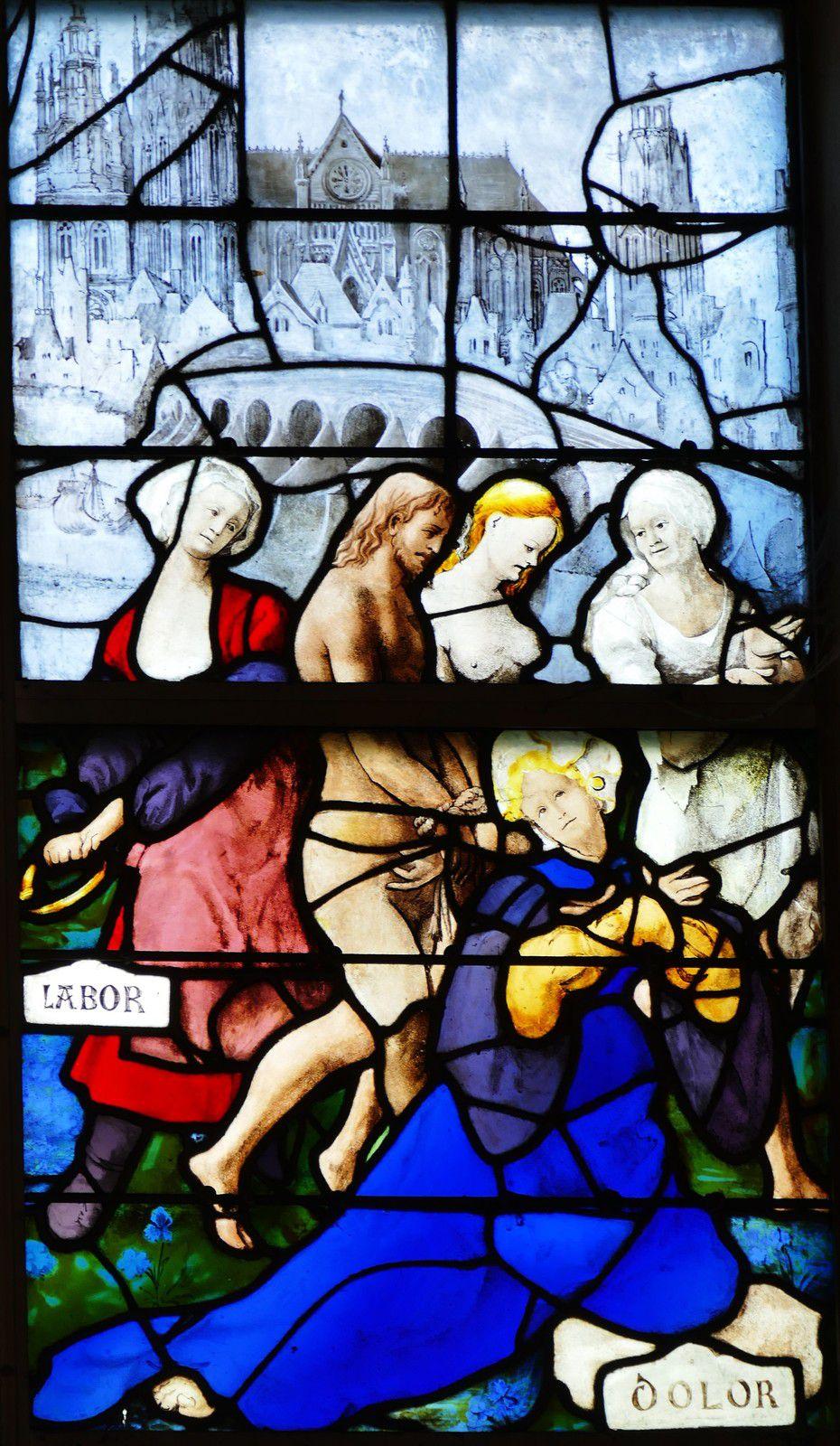Verrière des Chars (Jean et Engrand Le Prince, v. 1522-1524), baie 3 de l'église Sainte-Jeanne d'Arc de Rouen, photographie lavieb-aile août 2020.