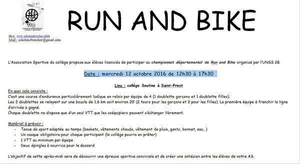 RUN AND BIKE MERCREDI 12 OCTOBRE