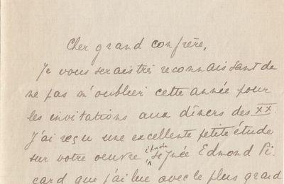 Lettre autographe signée de J.-H. Rosny aîné à Gustave Le Bon (1er novembre 1909)