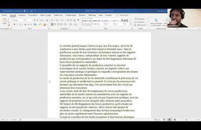 LECTURE EN COMMUN N°1 - PREFACE DE LA CRITIQUE DE LA CONTRIBUTION A L'ECONOMIE POLITIQUE DE KARL MARX
