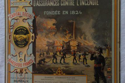 chromo l'union belge( incendie ,pompiers )