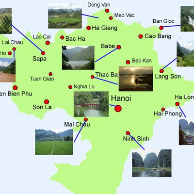 Carte Nord Vietnam (cliquable)