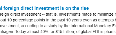 Phantom capital foreign direct investment is on the rise