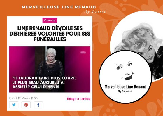 PRESSE WEB: Line Renaud dévoile ses dernières volontés pour ses funérailles