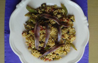 Risotto aux légumes et aux anchois