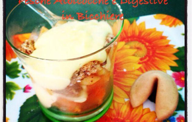 crema alla vaniglia con pesche albicocche e digestive in bicchiere