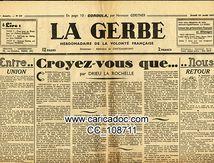 La Gerbe Hebdomadaire de la volonté française, 21/8/1941.