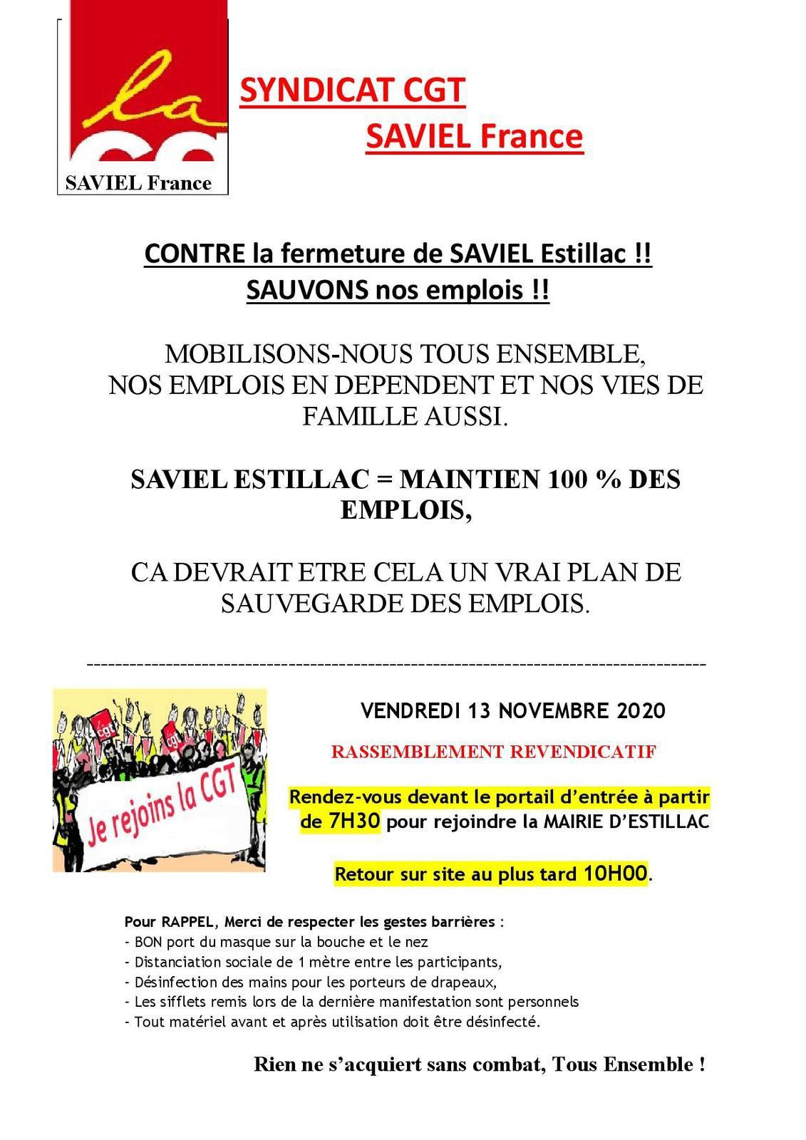 SAVIEL FRANCE ACTION DU VENDREDI 13 NOVEMBRE