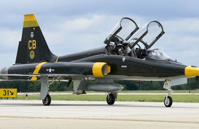 """Northrop T-38C """"Talon"""" - 14th Flying Training Wing (14FTW) - 49th Fighter Training Squadron (49 FTS) """"Black Knights"""" - Heritage sheme Lockheed P-38F-5-LO Lightning 49th Fighter Squadron"""