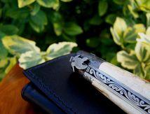 couteau-laguiole ivoire de mammouth feuille de chene et becasse cisele au burin