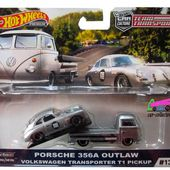 PORSCHE 356A OUTLAW + VW COMBI T1 TRANSPORTER PICK-UP HOT WHEELS 1/64. - car-collector.net