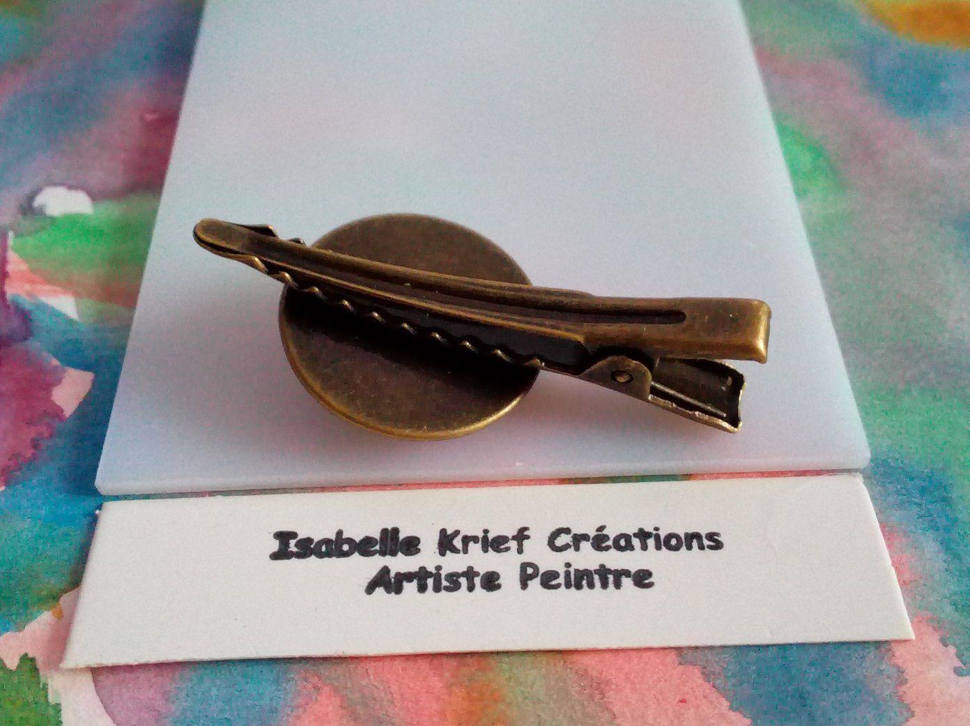 pince cravate en laiton bronze avec cabochon rond 20mm aquarelle vert marron,art deco baroque abstrait,fait mains en france,accessoire costume cravate,boho bobo gothique,cadeau fete anniversaire noel