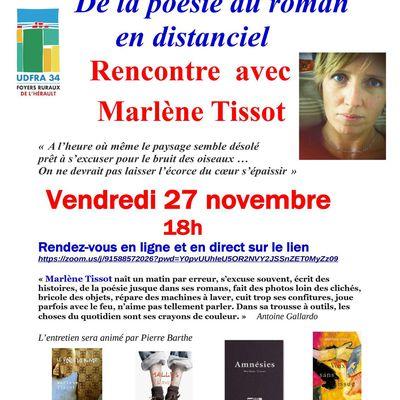 Rencontre littéraire en distanciel avec Marlène Tissot, vendredi 27 novembre à 18h