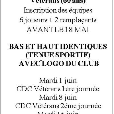 Inscriptions CDC vétérans