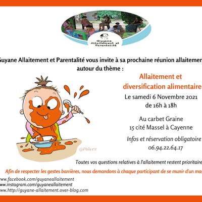 Réunion allaitement novembre 2021 - Diversification alimentaire