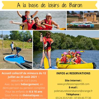 L'APSCA organise des séjours de vacances à la base départementale de Bairon