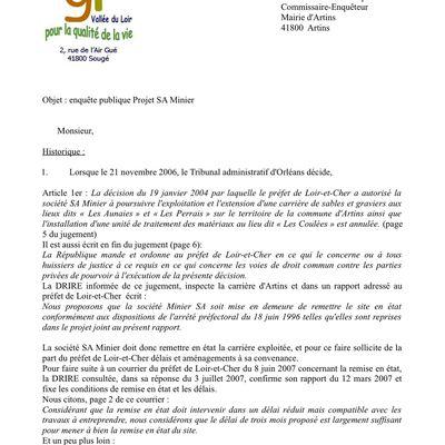 Quelques lettres déposées lors de l'enquête publique
