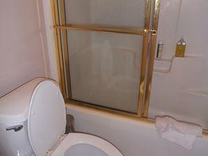 J'apprécie que la salle de bain attenante à notre chambre à coucher soit de plain-pied. A l'étage, les autres douches sont plus classiques : il faut escalader la baignoire avant d'y entrer.