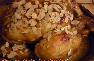 Recette du poulet au miel et aux amandes
