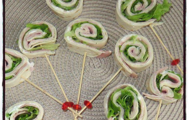 Sucettes de wrap jambon saint morêt