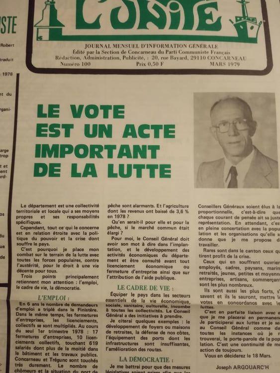 Journal l'Unité du PCF Concarneau, 1977