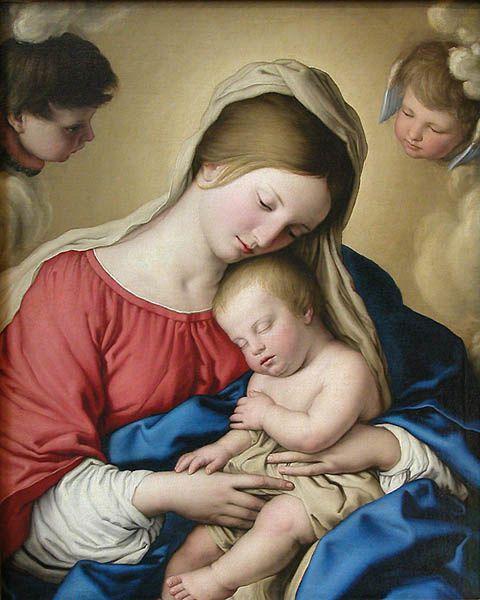 Le Sommeil de l'Enfant Jésus de Giovanni Battista Salvi, dit SASSOFERRATO (1609-1685) Musée du Louvre