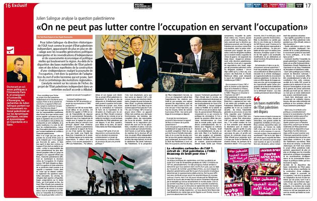 """On ne peut pas lutter contre l'occupation en servant l'occupation"" (Interview au quotidien libanais Al Balad)."