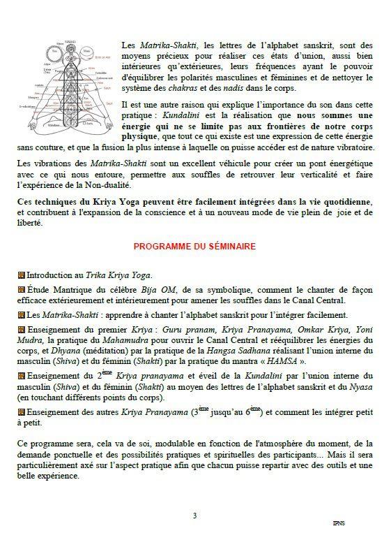 TRIKA KRIYA - YOGA avec Pierre Vergeot /énergéticien  sam 28 et dim 29/08 9h30/18h