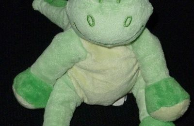 Doudou peluche dragon dinosaure vert Bengy ENVOI SUIVI OFFERT