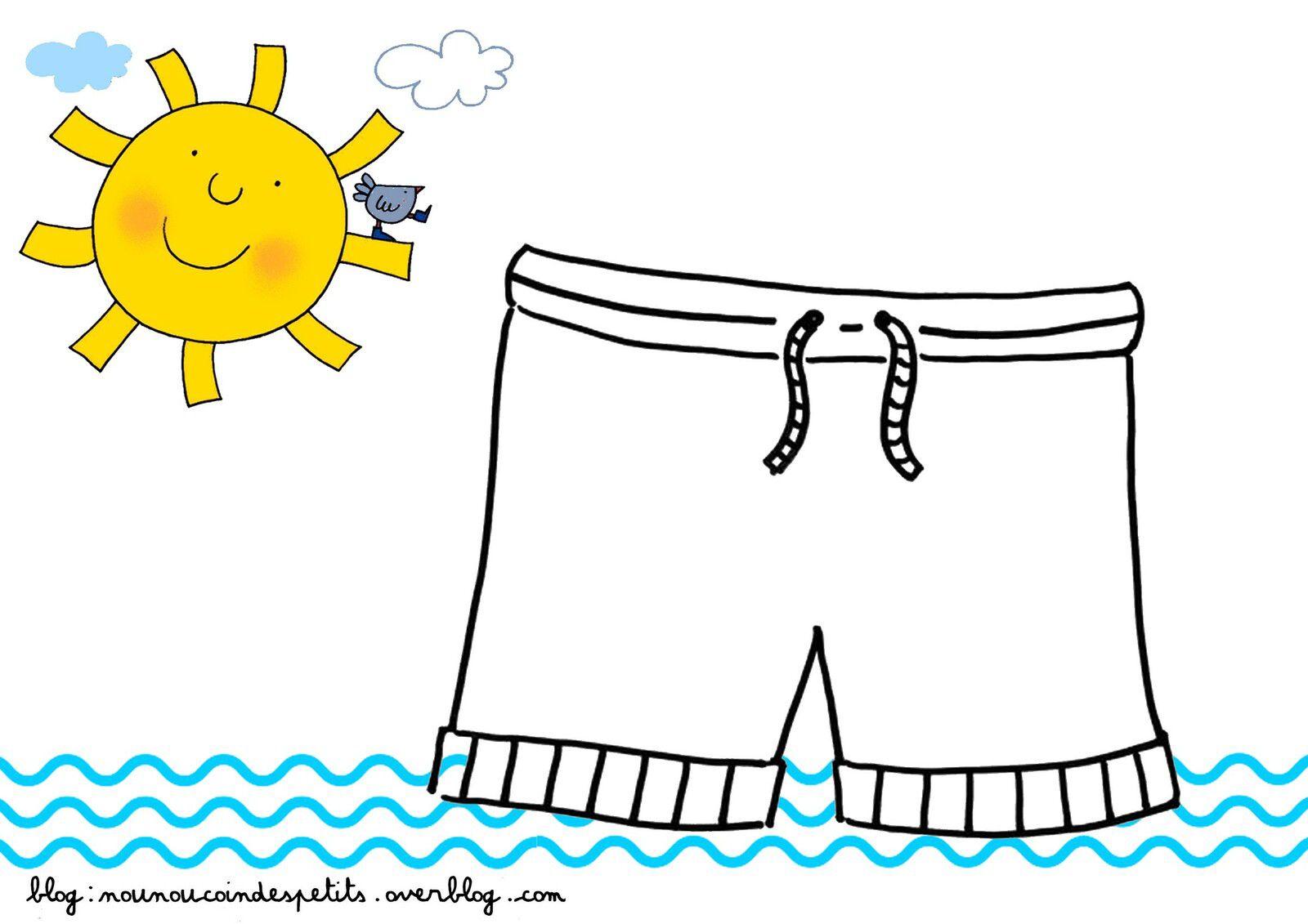 .. Bricolage enfant le short ou maillot de bain collage ..