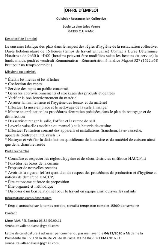 Offre emploi : Clumanc cuisinier (Sivu)