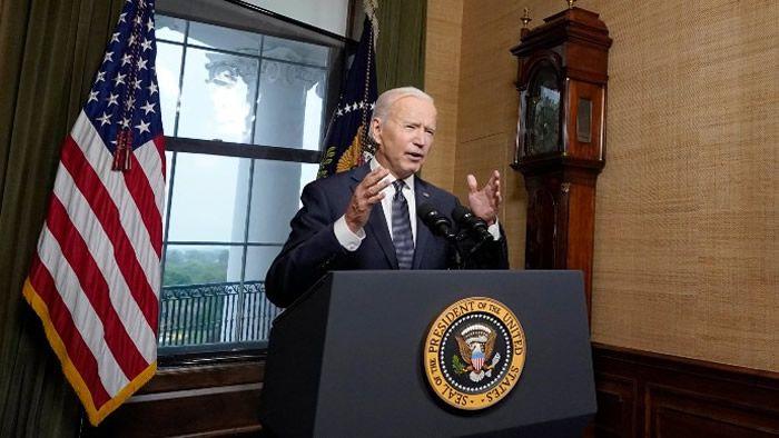 Joe Biden, lors de son allocution, le 14 avril, à Washington. | Pool / Getty Images North America via AFP