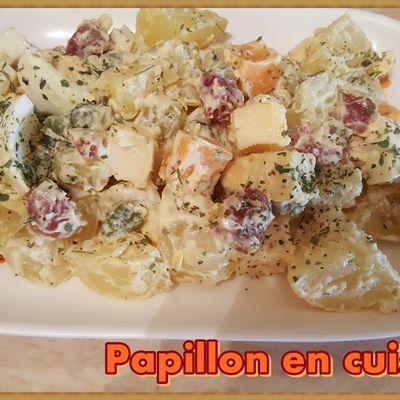 Recette : Salade de pommes de terre, saucisson sec et fromage