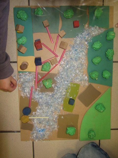 Les élèves ont travaillé en groupe pour réaliser une maquette sur le circuit de l'eau domestique. Après un travail par petits groupes, nous avons rassemblé toutes les planches pour faire une très grande maquette.