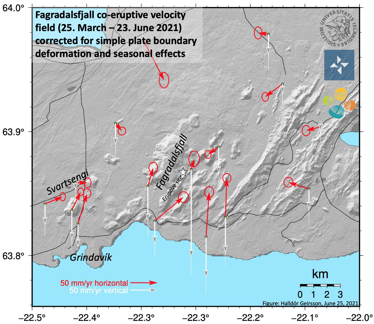 Fagradalsfjall eruption - map of soil deformation due to lava effusion - Doc. Un. Iceland / Twitter