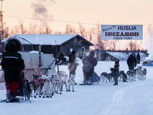 We arrive in Huslia. Photos Jeff schultz