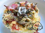 Gnocchis crème d'artichauts gratinée au jambon et graines de courge