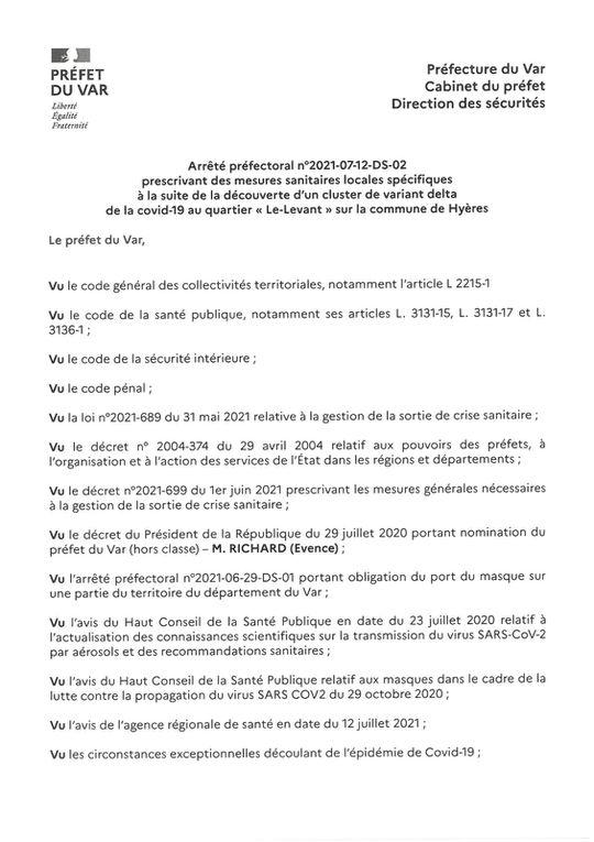Les arrêtés préfectoraux du 13 juillet 2013