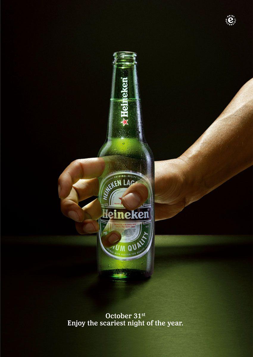 """Heineken : """"October 31st. Enjoy the scariest night of the year"""" (impossible de retrouver l'année de parution ni l'agence, mais ça date !)"""