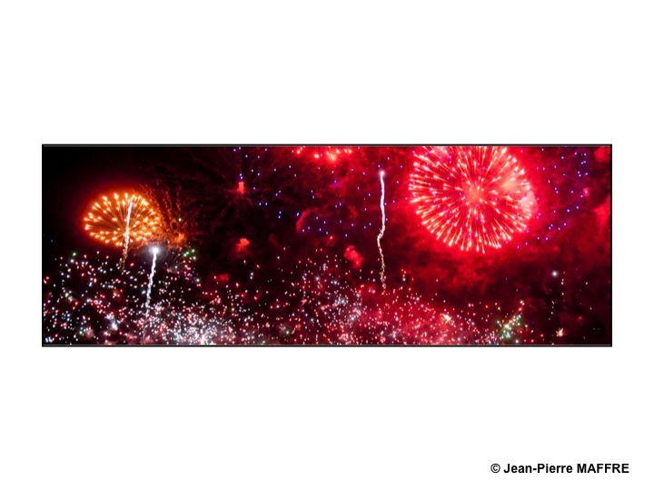 Tels des peintres abstraits qui lancent des couleurs sur leurs toiles, les artificiers font des chef d'oeuvres. Paris, le 14 juillet 2010.