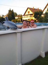 sorties  en petit train avec les jumelles a Strasbourg...cinéma..brunch chez des amis...piscine ches des amis