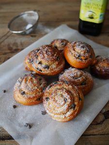 Escargots briochés à l'huile d'olive, chocolat et noix de pécan